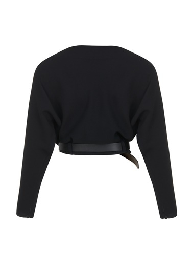 Nocturne Degaje Yaka Kemerli Bluz Siyah
